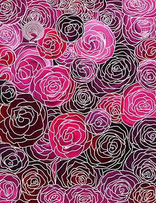 Painting - Bed Of Roses With White Lace by Barbara St Jean