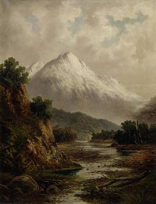 Beds Painting - Bed Of The Waimakariri River, By Thomas Attwood. by Celestial Images