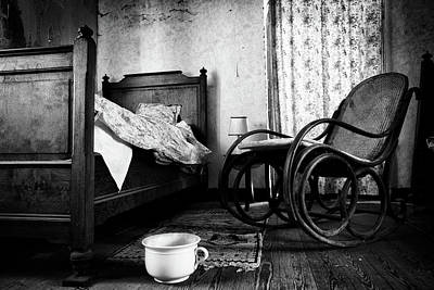 Art Print featuring the photograph Bed Room Rocking Chair - Abandoned Building Bw by Dirk Ercken
