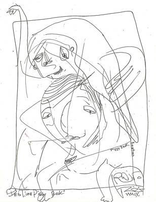 Folk Art Drawing - Bed Time Piggy Back by Robert Wolverton Jr