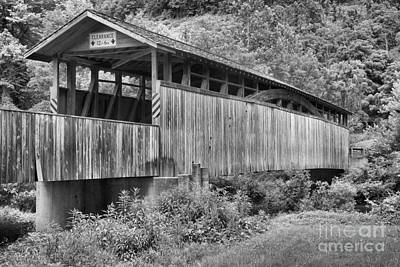 Photograph - Bedford County Claycomb Covered Bridge Black And White by Adam Jewell
