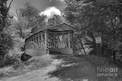 Photograph - Bedford County Diehl's Covered Bridge Black And White by Adam Jewell