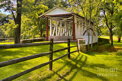 Photograph - Bedford County Dr. Knisley Covered Bridge by Adam Jewell