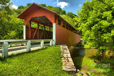 Photograph - Bedford County Herline Covered Bridge by Adam Jewell