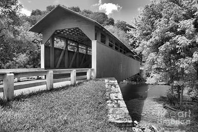 Photograph - Bedford County Herline Covered Bridge Black And White by Adam Jewell