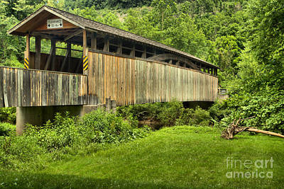 Photograph - Bedford County Natural Wood Bridge by Adam Jewell