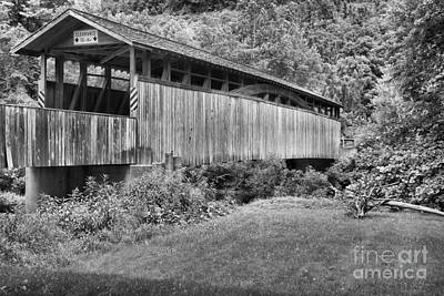 Photograph - Bedford County Natural Wood Bridge Black And White by Adam Jewell