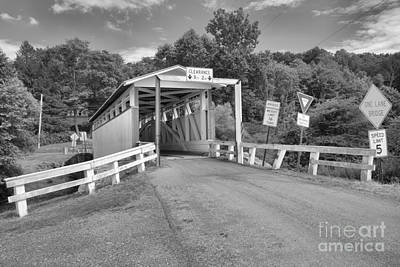 Photograph - Bedford County Ryot Covered Bridge Black And White by Adam Jewell