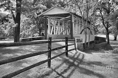 Photograph - Bedford Dr. Knisley Covered Bridge Black And White by Adam Jewell