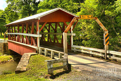 Photograph - Bedford King Post Covered Bridge by Adam Jewell