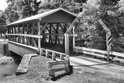 Photograph - Bedford King Post Covered Bridge Black And White by Adam Jewell