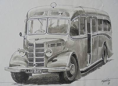 Drawing - Bedford Ob Coach Of The Forties. by Mike Jeffries