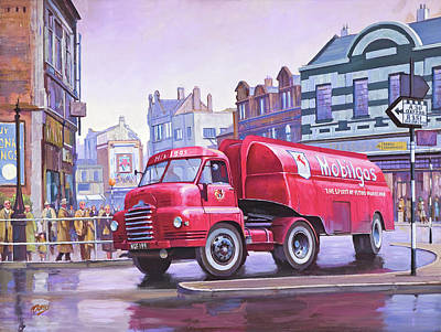 Painting - Bedford S Type Tanker. by Mike Jeffries