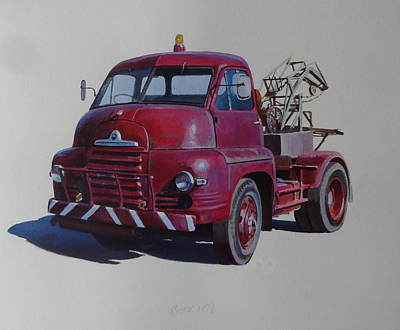 Bedford S Type Wrecker. Art Print by Mike  Jeffries
