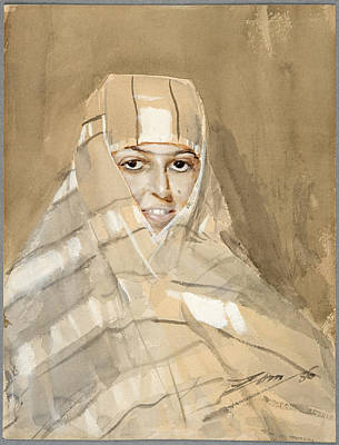 Anders Zorn Drawing - Bedouin Girl by Anders Zorn