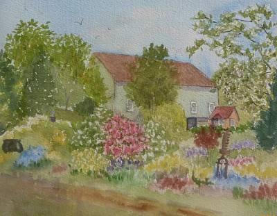 Painting - Bedrock Garden Barn by Roseann Meserve