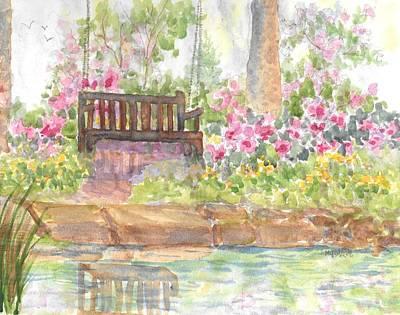 Painting - Bedrock Garden Petit Pond  by Roseann Meserve