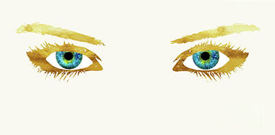 Bedroom Eyes, Blue Eyes, Gold Lashes Print by Tina Lavoie