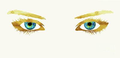 Bedroom Eyes, Blue Eyes, Gold Lashes Art Print