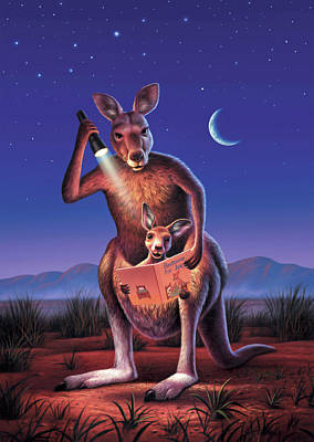 Marsupial Digital Art - Bedtime For Joey by Jerry LoFaro