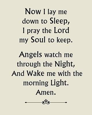 Digital Art - Bedtime Prayer - Beige by Classically Printed