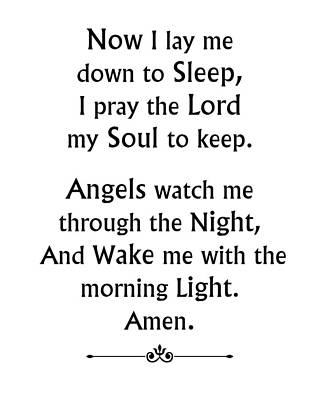 Digital Art - Bedtime Prayer - White by Classically Printed