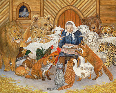Goat Painting - Bedtime Story On The Ark by Ditz