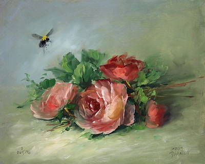 Bee And Roses On A Table Art Print by David Jansen