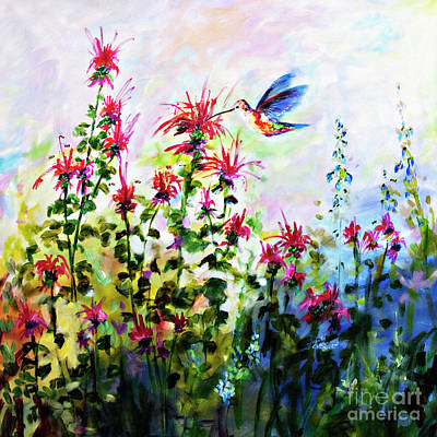 Painting - Bee Balm And Hummingbird In Garden by Ginette Callaway