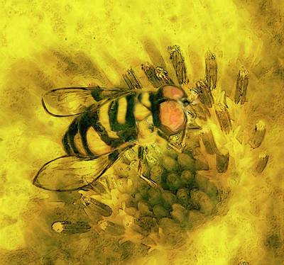 Floral Digital Art Painting - Bee Cause by Jack Zulli