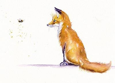 Red Fox Painting - Bee Confronted by Debra Hall