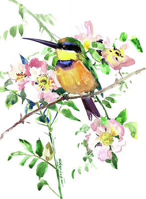 Painting - Bee-eater And Rosehip Flowers, Bird And Flowers by Suren Nersisyan