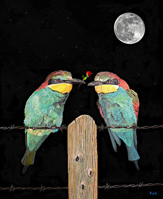 Mixed Media - Bee Eaters By Moonlight by Eric Kempson