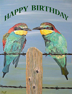 Bee Eaters Happy Birthday Art Print