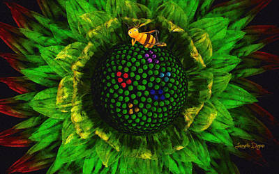 Sunflowers Digital Art - Bee Flower - Da by Leonardo Digenio