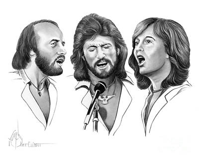 Drawing - Bee Gees by Murphy Elliott