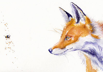 Red Fox Painting - Bee Gone by Debra Hall