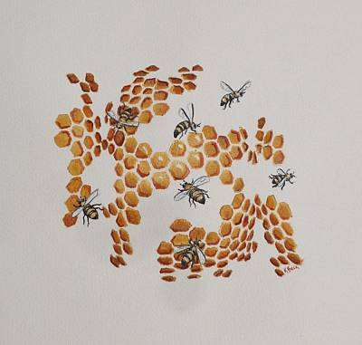 Art Print featuring the painting Bee Hive # 2 by Katherine Young-Beck