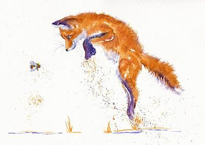 Fox Cubs Painting - Bee Innocent by Debra Hall