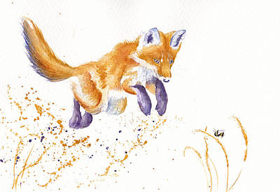 Fox Cubs Painting - Bee Jumpin' by Debra Hall