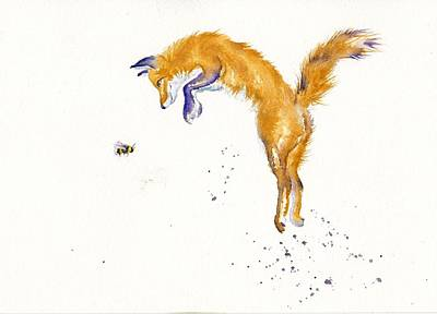 Red Fox Painting - Bee Leaping 2016 by Debra Hall