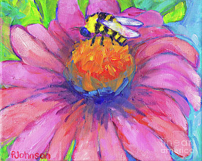 Painting - Bee On Coneflower By Peggy Johnson by Peggy Johnson