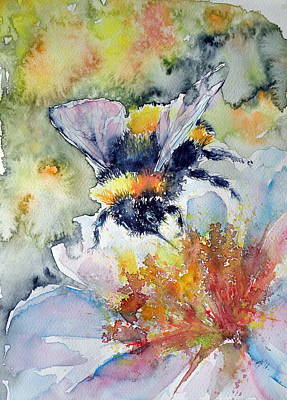Honey Painting - Bee On Flower by Kovacs Anna Brigitta