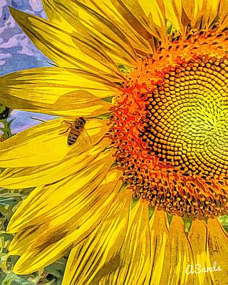 Digital Art - Bee On Sunflower by Anne Sands