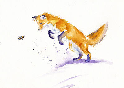 Red Fox Painting - Bee Pouncing by Debra Hall