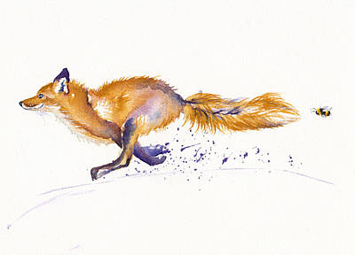 Red Fox Painting - Bee Racing by Debra Hall