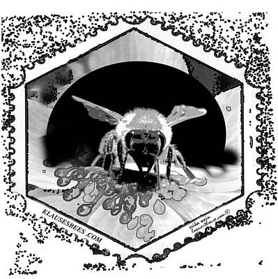 Photograph - Bee Stamp In Black And White by Erika Wain