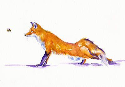 Red Fox Painting - Bee Stealthy by Debra Hall