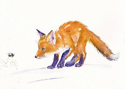 Red Fox Painting - Bee Unsure by Debra Hall