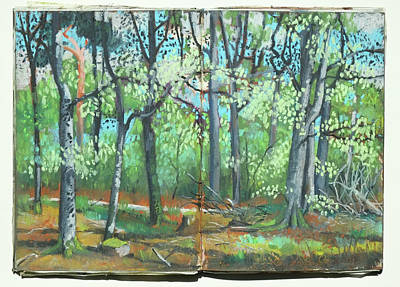 Painting - Beech Forest In Spring, Oil Pastel  by Martin Stankewitz